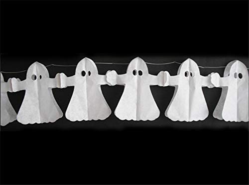 Tuscom Ghost Decorative Paper Halloween Garland Different Size Happy Halloween Party Decoration Tissue Paper Garland Halloween String Banner (A)