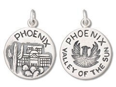 Crystal Phoenix Suns (Sterling Silver Phoenix Arizona State Valley Of The Sun Charm)
