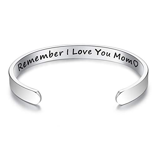 ALoveSoul Remember I Love You Mom Forever and Always Cuff Bracelet Gifts for Mom from Daughter Gifts for Women