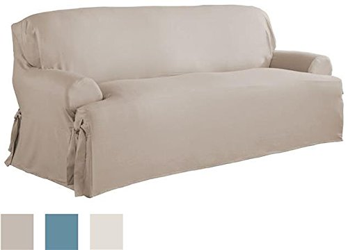 Serta Relaxed Fit Duck Furniture Slipcover for T-Sofa, Khaki