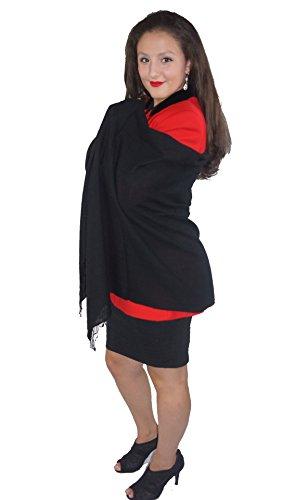 (Cashmere Pashmina Group: Solid Pashmina Shawl, Scarf, Wrap & Stole (Large size) Black)