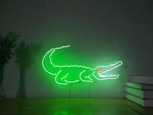 Crocodile Real Glass Neon Sign For Bedroom Garage Bar Man Cave Room Home Decor Handmade Artwork Visual Art Dimmable Wall Lighting Includes Dimmer