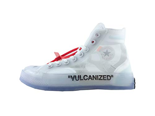 White Canvas Sneaker Translucent Upper Vulcanized Sole All Off Star Luxury White Most Hottest High Top Sneaker(6 M US Women/5 M US Men, Clear Blue)