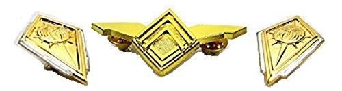 BSG Men's Battlestar Galactica Senior Flight Wings + Commander Rank Pins Set One Size Gold -
