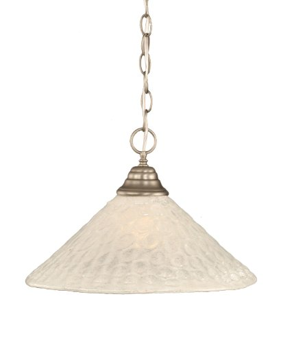 Toltec Lighting 10-BN-411 One-Light Chain Pendant Brushed Nickel Finish with Bubble Glass, 16-Inch ()