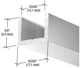 PAR Brite Puerta de ducha anodizada sin marco de aluminio con canal en U regular para vidrio de 1/2 pulgada de grosor: Amazon.es: Bricolaje y herramientas