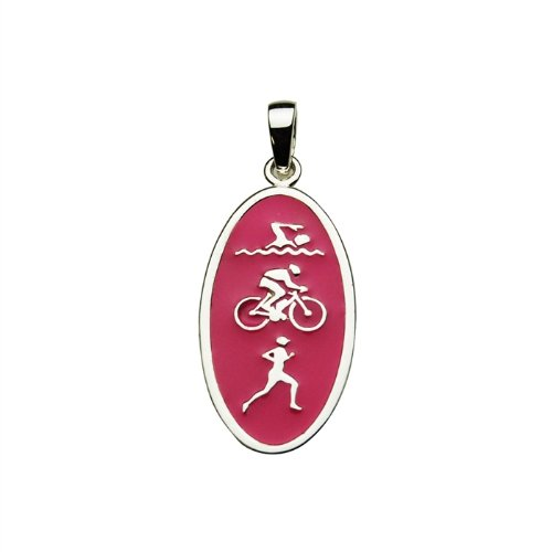 Sterling Silver Swim Bike Run Triathlon Enamel Charm - Pink