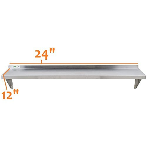 Shelf Commercial Stainless Wall Steel (Royal Industries Commercial Wall Shelf with Mounting Brackets , Stainless Steel, 18 Ga.)