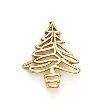 Doublure 14 Carats Pendentif arbre de Noël-JewelryWeb