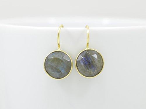 Round Labradorite Earrings Gold, Drop Labradorite Earrings Silver, Grey Gemtone Earrings - Gold Labradorite Earrings