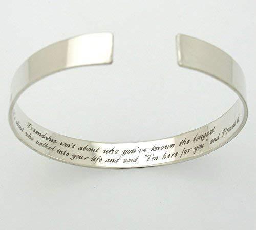 df194c5f9 Amazon.com: Custom Friendship bracelets - Personalized best friend Bracelet  - Inspirational Sterling Silver Bracelet - Gift for Friend: Handmade