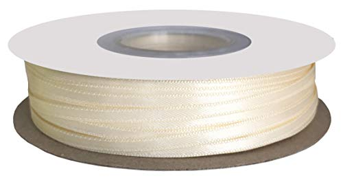Ivory Double Face Satin - DUOQU 1/8 inch Wide Double Face Satin Ribbon 100 Yards Roll Multiple Colors Ivory