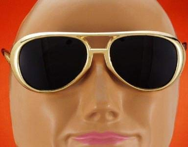 King Cool Elvis Style Sunglasses Rock n Roll - Gold
