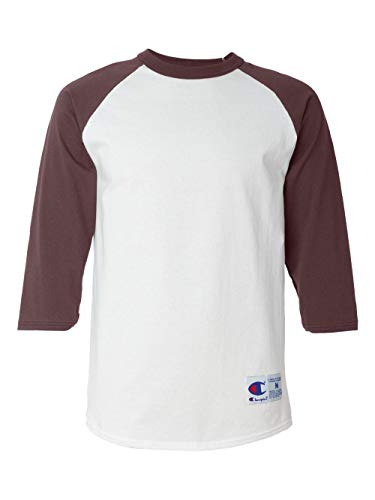 Champion Men's Raglan Baseball T-Shirt, White/Maroon, Large