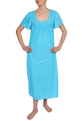 (Heavenly Bodies Tricot Nightgown, Long Sleep Dress With Comfortable Lightweight Fabric Blue Vine Small)