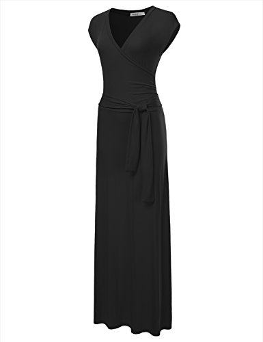 NINEXIS Women's V-Neck Cap Sleeve Waist Wrap Front Maxi Dress