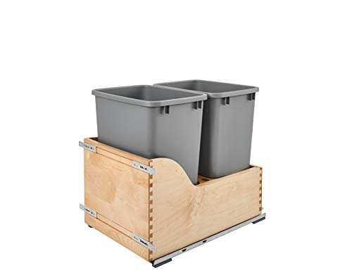 Natural Wood Dual Track - Rev-A-Shelf - 4WCSC-1835DM-2 - Double 35 Qt. Pull-Out Bottom Mount Wood and Silver Waste Container with Soft-Close Slides