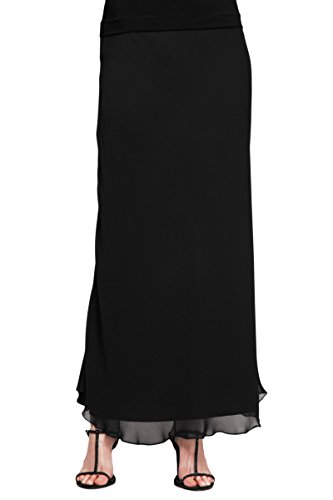 Alex Evenings Women's Long Skirt Various Styles (Petite and Regular Sizes), Black Chiffon A-Line, LP