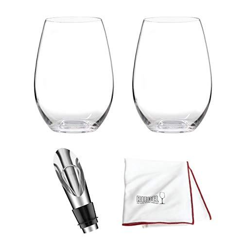 Riedel O Wine Tumbler Syrah/Shiraz, Set of 2 Includes Wine Pourer with Stopper and Polishing Cloth