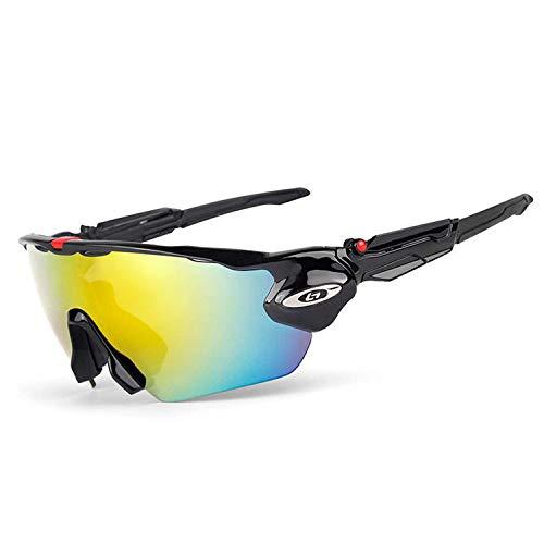 Outdoor Sport Cycling Glasses Polarized Sunglasses 5 Lens UV 400 MTB Men Women Bike Goggles Sport Bicycle Eyewear,Black and Black