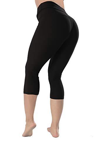 Buttery Soft Leggings for Women-Regular and Plus Size Leggings w Hidden Inner Pocket-Full Length, Soild Color (Plus Size(XL-3XL), Black-Capri)