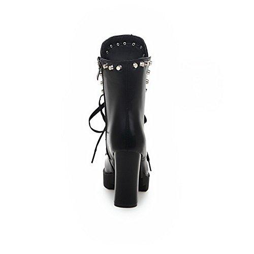 AgooLar Damen PU Mitte-Spitze Schließen ZeheReißverschluss Hoher Absatz Stiefel Schwarz