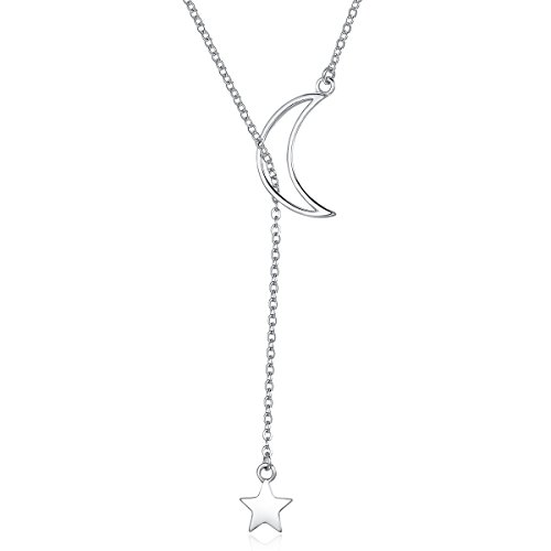 Lariat Y Necklace Crescent Moon Star 925 Sterling Silver for Women Girls Teens Dainty Layered Long Chain Pendant Personalist - Star Necklace Lariat