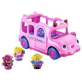 Pink Lil\' Movers School Bus Little People by Fisher-Price: Amazon.co ...