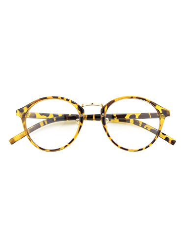 Happy Store CN65 Vintage Inspired Horned Rim Metal Bridge P3 UV400 Clear Lens - Glasses Tortoise Shell