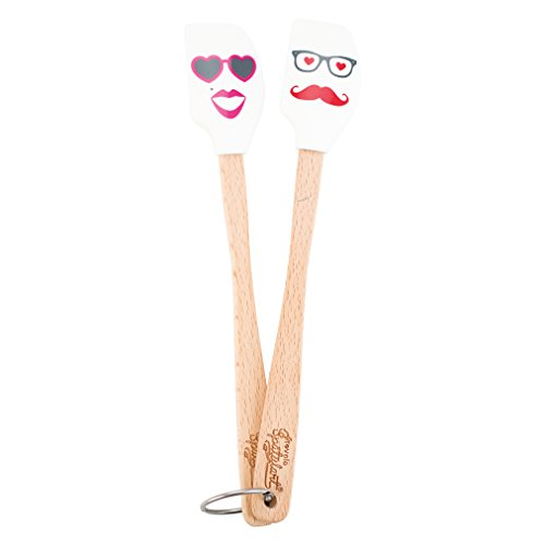 Tovolo Spatulart Mr. and Mrs. Love Mini Spatulas - Set of 2 - Handled Batter Bowl