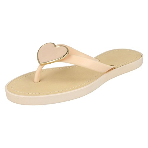 Ladies Spot On Glam Metal Heart Toe Post Sandals Nude (Beige) pc2V7F9dx8