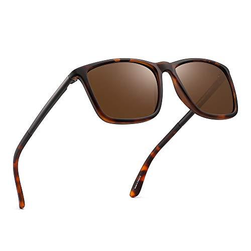 Polarized Driving Sunglasses Retro Square UV protection Classic Sun Glasses Men (Tortoise/Polarized ()