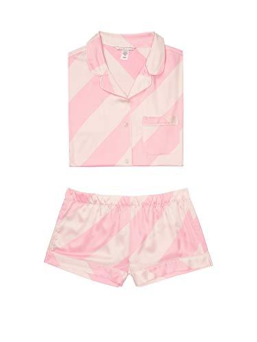 Victoria's Secret Satin Pajama Boxer Set PJ Stripe Medium Pink