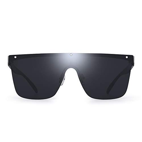 (JIM HALO Rimless Shield Sunglasses One Piece Flat Top Mirror Glasses Women Men (Silver Frame/Grey Lens))