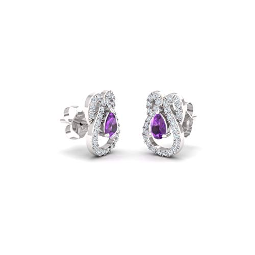 Diamondere Natural and Certified Amethyst and Diamond Pear Cut Drop Earrings in 14K White Gold   0.79 Carat Earrings for Women