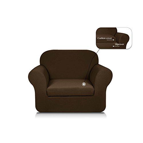 Subrtex 2-Piece Knit Jacquard Spandex Stretch Sofa Slipcover (Chair, Coffee)