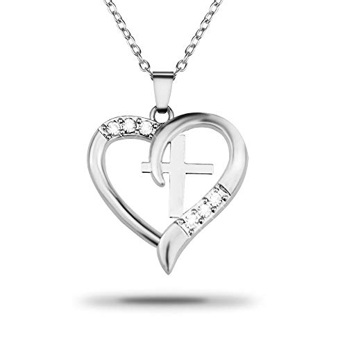 (Silver Christian Cross Heart Pendant I Love Jesus Necklace ,Jewelry with a Luxury Gift Bag for Easy Gift Giving Womans Necklace Birthdays Gifts For Women Gifts For Girls .925 Sterling)