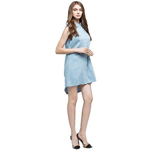 Doppio Di Sexy Allentato Senza Maniche Fragola I Casuale Blu Blu Donne Jeans Estate Delle Mini Abito qgHtwwp1