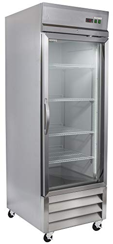 Chef's Exclusive CE309 One 1 Glass Door 23 Cubic Foot Reach-In Upright Commercial NSF Stainless Steel Refrigerator Cooler, 26.8 Inch Wide, Metallic ()