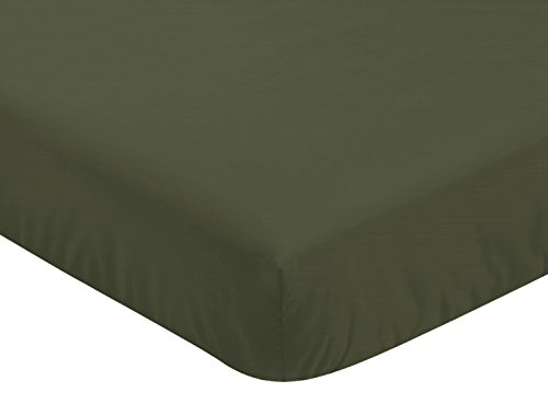 Sweet Jojo Designs Solid Dark Green Baby or Toddler Fitted Crib Sheet for Woodland Camo Collection