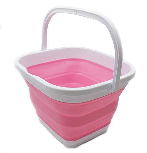 Canasta / balde plegable de 10l. rectangular blanco/rosa