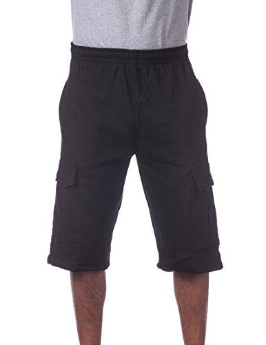 Pro Club Men's Fleece Cargo Short, Black, 3X-Large