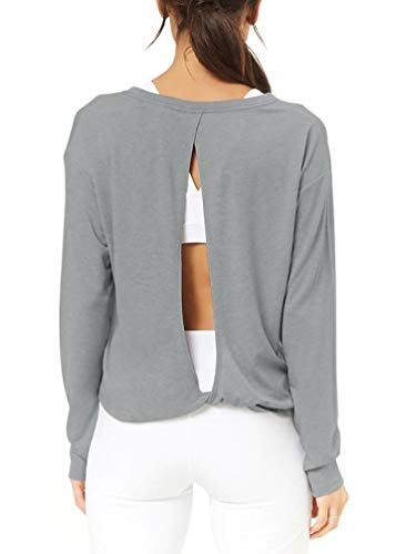 Bestisun Exercise Workout Open Back Long Sleeve Top Knot Back Boat Neck Activewear Strechy Pullover Daily Wear Cute Crop Tank Top Heather Gray S