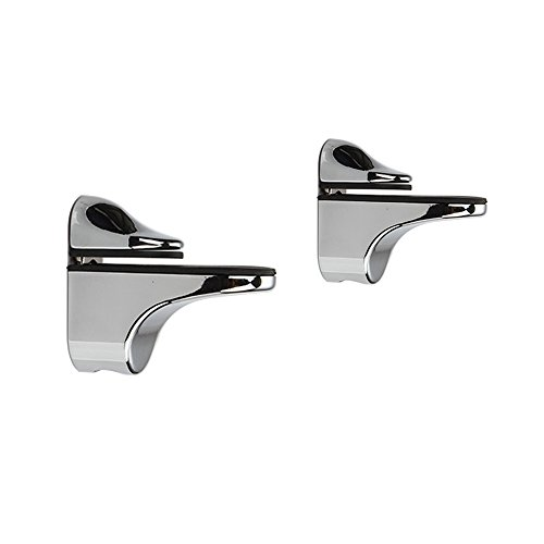Adjustable Wood/Glass Shelf Bracket Wall Mount, Polished Chrome, 2 Pack