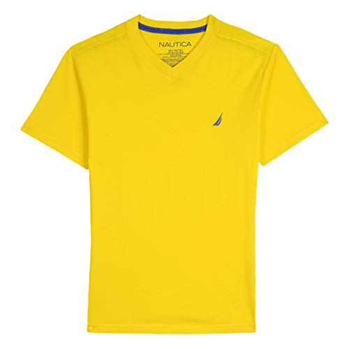 (Nautica Toddler Boys' Short Sleeve Solid V-Neck T-Shirt, Strait Yellow, 4T)