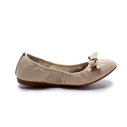 AmoonyFashion Womens Pull On No Heel Patent Leather Solid Pointed Closed Toe Flats-Shoes Apricot ZzJH8F7cbX