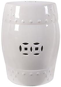 Amazon Com 18 Quot Ceramic Garden Stool White Patio Lawn