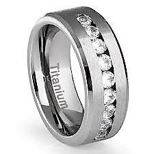 Charmy Jewelry 8mm Titanium Men's Wedding Band with 9 Large Channel Set Cubic Zirconia CZ Polished Finish Beveled...