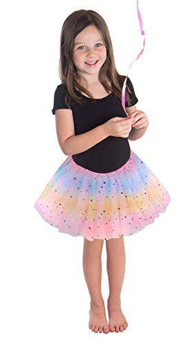 Simplicity Girls Tutu Skirt Princess Ballet Toddler Tutu, Pink Rainbow, 2-6X