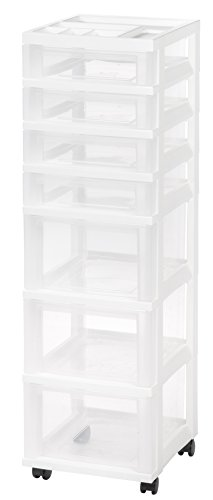 IRIS Medium 7-Drawer Storage Cart W/Organizer, White